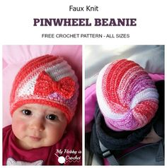 My Hobby Is Crochet: Faux Knit Pinwheel Beanie (All sizes) - Free Crochet Pattern