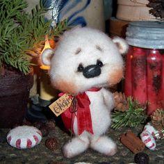 "Primitive Christmas Fuzzy Teddy Polar Bear 5"" Mini Doll ★ Vtg Patti's Ratties  For ordering information email me at pattisratties3d@yahoo.com"