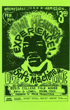 Concert poster for Jimi Hendrix at the Regis Field House in Denver, CO. 11 x 17 high quality reproduction on card stock. Affiche Jimi Hendrix, Psychedelic Music, Psychedelic Posters, Hippie Posters, Concert Posters, Music Posters, Rock Band Posters, Jimi Hendrix Experience, Rock Concert