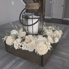 Sola flower centerpiece! Perfect soft, rustic option for a dining room table.