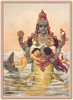 Viṣṇu as Matsya Avatar, Raja Ravi Varma, c. Oleolithograph This is a photo of a classic Indian women taking care of the children and essentially being the one who takes care of the house. Which was a main theme in the Ramayana story. Krishna Art, Hare Krishna, Indian Gods, Indian Art, Ramayana Story, Raja Ravi Varma, Lord Vishnu, Hindu Deities, God Pictures
