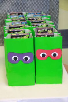 Simple and fun favor bags at a Teenage Mutant Ninja Turtles birthday party! See more party planning ideas at CatchMyParty.com!