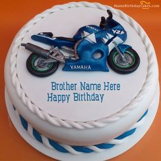 Write Name On Bike Birthday Cake For Brother