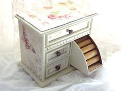 MBS Shabby Chic Wooden Jewelry Box Pink Roses by LetaPearlEmporium