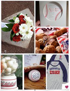 Take Me Out to a Baseball Themed Wedding Inspiration Board #weddinginspiration #inspirationboard #weddings #red #blue #peanut #baseball #heartloveweddings