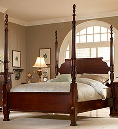Traditional Mahogany Plymouth King Poster Bed