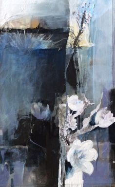 "From Shadows-Abstract Botanical by Joan Fullerton Acrylic ~ 24"" x 18"""