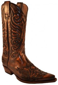 6056 Black Britnes Flo Marron | Sendra mens tribal embroidery copper color leather cowboy boots 198€