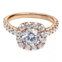 #Gabrielco #Engagement #Ring #rose #gold #rosegold with HUGE side stones!