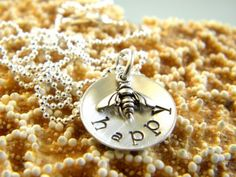 Bee Happy necklace from Simple Starfish. I just love the little bee! Mommy Necklace, Costume Necklaces, Bee Happy, It Goes On, Hand Stamped Jewelry, Dangle Earrings, Fashion Jewelry, Bling, Starfish