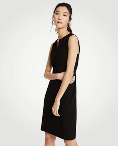 61fb22be499 Ann Taylor Split Neck Seasonless Sheath Dress Work Wardrobe