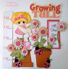 Growing Tall Girl Paper Piecing Set Embellishment PreMade Album Scrapbook Border