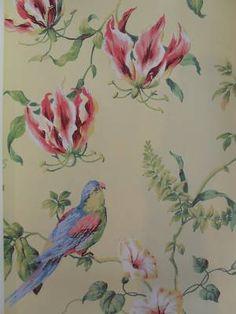 Designer Painted WALLPAPER Shabby Chic BIRDS + FLOWERS