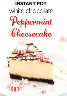 Instant Pot White Chocolate Peppermint Cheesecake is a minty sweet cheesecake, but not too sweet. A nice Holiday pressure cooker cheesecake. simplyhappyfoodie.com #instantpotwhitechocolatecheesecake #instantpotcheesecake