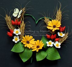Quilled Summer Heart - Daisies, Wheat, Rose Hip, Strawberry Flowers, Butterfly - Quilling by ManuK (Manuela Koosch)