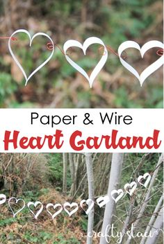 Paper and Wire Heart Garland — Crafty Staci Easy Valentine Crafts, Valentines Day Party, Valentine Decorations, Paper Folding Crafts, Easy Paper Crafts, Diy Paper, Heart Garland, Heart Crafts, Diy Craft Projects