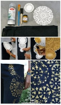 Decoración con blondas de papel para vaqueros // Paper lace decoration for jeans