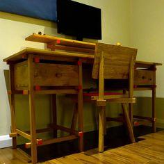 De Stijl bespoke desk made from poppy oak.
