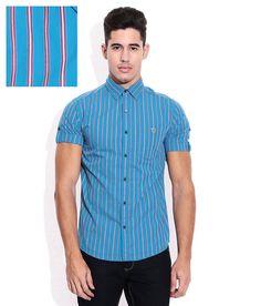 Mufti Blue Vertical Striped Shirt - http://brandedstore.in/product/mufti-blue-vertical-striped-shirt/