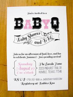 BaByQ Invitation  Baby Shower & BBQ by MoretheMerrierDesign, $20.00