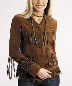 Take a look at this Chocolate Suede Fringe Jacket - Women on zulily today!