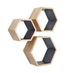 Ash Wood Nesting Hexagon Shelves - Set of 3 | dotandbo.com