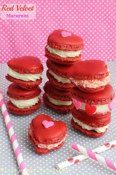 Red Velvet Valentine Macarons - Impress your Valentine with these Red Velvet Heart Shaped Macarons filled with cream cheese frosting. The melt in your mouth texture make them a perfect treat any time of year. by @LifeMadeSweeter