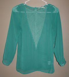 Kimchi Blue sheer green long sleeve blouse shirt womens size XS #KimchiBlue #Blouse #Casual