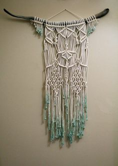 Dip Dyed Mint Macramé Wall Hanging on Drift Wood