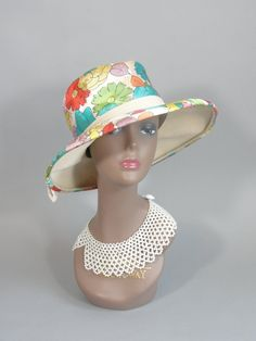 Vintage 1960s Wide Brim Floral Printed Hat with by TwirlVintageCo