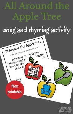 Sing and play All Around the Alphabet Tree song to build rhyming skills. Perfect for an apple theme unit study. Preschool Apple Theme, Fall Preschool Activities, Apple Activities, Preschool Literacy, Rhyming Kindergarten, Teaching The Alphabet, Teaching Kids, Fun Learning, Learning Activities