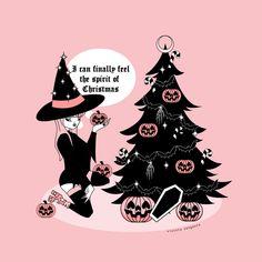 Spooky Christmas Art Print by Violeta Venganza - X-Small Halloween Trees, Halloween Christmas, Halloween Art, Vintage Halloween, Halloween Countdown, Dark Christmas, Christmas Art, Christmas Ideas, Samhain