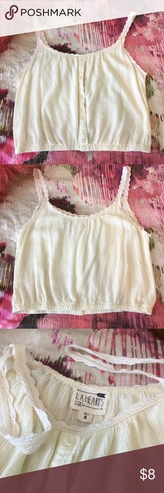 La Hearts Rayon Cami Crop Tank Top, S Worn a few times, no tear or stain, 100% rayon. La Hearts Tops Tank Tops