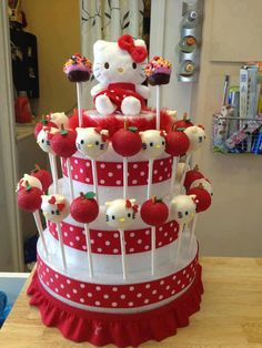 Hello Kitty Cake Pops on Styrofoam stand