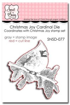 "Christmas Joy Die - $11.25  Size  2 1/2"" x 2 3/4"". Works with  Christmas Joy stamp set SNSS-11-043"