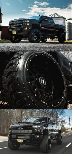 Black Lifted Chevy Silverado with Custom Hostile Wheels - Photo by CARiD Big Ford Trucks, Lifted Chevy Trucks, Gm Trucks, Chevrolet Trucks, Diesel Trucks, Pickup Trucks, Ford Diesel, Dually Trucks, 1957 Chevrolet