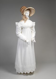 Morning dress, ca. 1819, British, cotton. In the Metropolitan Museum of Art collection. (More pictures of this dress are available on the museum's website.)