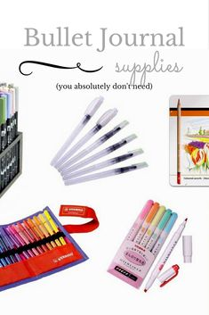 Bullet journal supplies you absolutely don't need. (But are amazing none the less) Bullet Journal Essentials, Organization Bullet Journal, Bullet Journal Junkies, Bullet Journal Inspo, Bullet Journal Spread, Bullet Journals, Planner Pages, Planner Ideas, Bujo