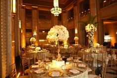 Reception in the Grand Lobby of the Peabody Opera House Saint Louis MO Floral & Event Design by Wildflowers LLC Saint Louis, MO