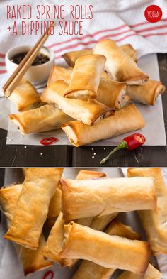 Vegetarian spring rolls with a tasty dipping sauce *dipping sauce sounds good