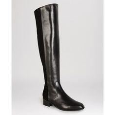 KAREN MILLEN Flat Over The Knee Boots - Leather & Suede