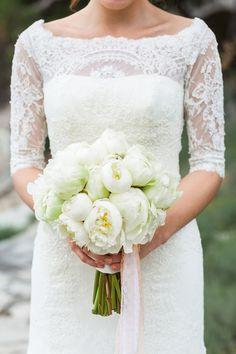 Gorgeous white peonies bridal bouquet!