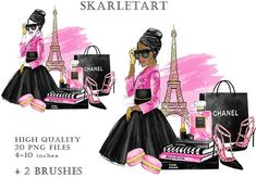 Black Girl Fashion, Pink Fashion, Paris Fashion, Coco Chanel Wallpaper, Clipart Chica, Paris Clipart, 2017 Fall Fashion Trends, Glamour Decor, Fashion Clipart