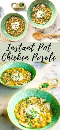 Instant Pot Chicken Posole (Pozole) verde is a healthy and quick soup recipe. This posole recipe is made easy in the Instapot, with tender chunks of chicken or porl in a delicious, flavorful broth. #instantpot #pozole #posole #healthysoup #souprecipe #quicksoup