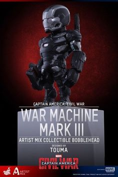 Hot Toys - AMC024 - Captain America: Civil War - War Machine Mark III Artist Mix Collectible Bobble-Head Designed by TOUMA