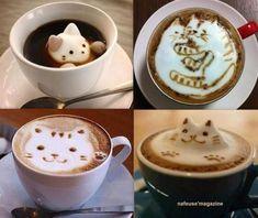De jolis cafés crème dessins chats réalisés avec de la poudre de cacao. Cafe Creme, Oeuvre D'art, Oeuvres, Cafe Art, C'est Bon, Hot Chocolate, Latte, Pudding, Tea