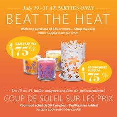 Up to 75% off your summer favourites! #PartyLite #candles