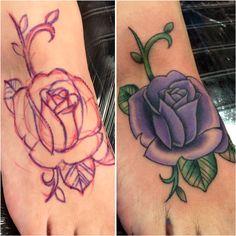 Free ballin', Junior Garcia tattoo, Electric Soul Tattoo, Lancaster CA, Palmdale CA, Rose tattoo, foot tattoo.