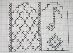 Ann Britt`s hobbyside: Musikkvotter, mønster Sewing Jeans, Drops Design, Knitting Patterns, Cross Stitch, Diagram, Vest, Punto De Cruz, Dots, Tejidos