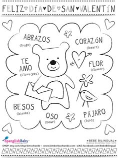 Feliz Día de San Valentín, Happy Valentines day printable coloring sheet in spanish